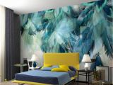 Victorian Wallpaper Murals Beibehang Wallpaper Stylish Vintage Modern Blue Feather Tv