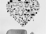 Video Game Wall Murals Vinyl Wall Decal Video Game Console Gamer Heart Joystick