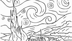 Vincent Van Gogh Starry Night Coloring Page Starry Night by Vincent Van Gogh Coloring Page