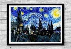 Vincent Van Gogh Wall Murals Hogwarts Castle Starry Night Print Van Gogh Reproduction Of