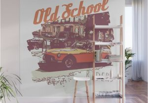 Vintage Car Wall Murals Vintage Rider Wall Mural by Juliablnk