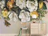 Vintage Floral Wall Mural Custom 3d Wallpaper Walls Vintage Rose Flower butterfly Mural Living Room Bedroom Tv Background Decorative Wallpaper Painting Free Wallpaper Hd