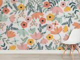 Vintage Floral Wall Mural Wildflower Bloomin Marvelous Wall Mural Room