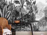 Vintage Jungle Wall Mural Jungle Wallpaper Bohemian Wall Mural Tropical Palm Retro