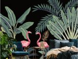 Vintage Jungle Wall Mural Jungle Wallpaper Mural Removable Wallpaper Wild Animals and Palm Leaves Self Adhesive Peel and Stick Wallpaper Temporary Wall Murall