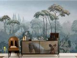 Vintage Jungle Wall Mural Oil Painting Scenic Pine Trees Wallpaper Wall Mural Custom