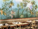 Vintage Jungle Wall Mural Tropical Rainforest Wallpaper Wall Mural Jungle Frorest Trees Scenic Wall Mural Living Room Bedroom Wallpaper Wall Murals