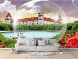 Vintage Landscape Mural Wallpaper 3d Stereoscopic Wallpaper Custom 3d Mural Wallpaper Rose Castle