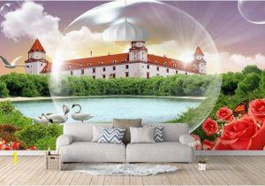 Vintage Landscape Mural Wallpaper 3d Stereoscopic Wallpaper Custom 3d Mural Wallpaper Rose Castle