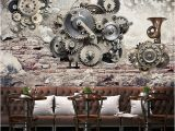 Vintage Landscape Mural Wallpaper Modern Creative Retro Mechanical Gear Vintage Backdrop Wall 3d
