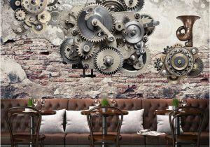 Vintage Landscape Mural Wallpaper Modern Creative Retro Mechanical Gear Vintage Backdrop Wall 3d