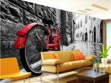 Vintage Landscape Mural Wallpaper Wallpaper Retro European Black and White Street Red Bikes