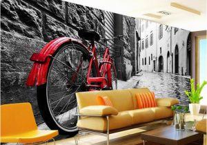 Vintage Landscape Mural Wallpaper Wallpaper Retro European Black and White Street Red Bikes