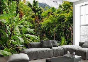Vintage Landscape Mural Wallpaper Wallpaper Retro Tropical Rain forest Coconut Tree 3d Wall