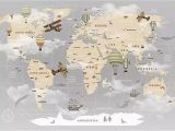 Vintage Map Wall Mural Pennie Vintage World Map Hot Air Balloon Textile Texture Wall Mural