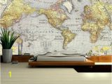 Vintage Map Wall Mural World Map Wall Decal Wallpaper World Map Old Map Wall