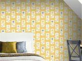 Vintage Wall Murals Uk Arthouse Retro Flower Yellow Grey Wallpaper