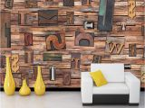 Vintage Wood Wall Mural Custom 3d Mural Wallpaper for Wall Non Woven Straw English Letters Vintage Wooden Mural Wall Paper Rolls Tv sofa Backdrop Christmas Puter