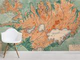 Vintage Wood Wall Mural Iceland Vintage Map Mural Wallpaper