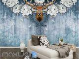 Vintage Wood Wall Mural Vintage Deer Head with White Roses Blue Wooden Wall Art