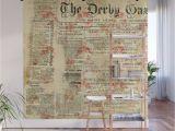 Vintage Wood Wall Mural Vintage Newspaper Grunge Wall Mural