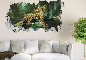 Vinyl Mural Wall Art 3d forest Leopard Roar 44 Wall Murals Wall Stickers Decal