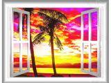 Vinyl Wall Mural Beach 3d Window View 3d Wall Mural Beach View Wall Decals Sunset