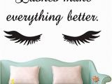 Vinyl Wall Murals Canada Lashes Make Everything Better Beauty Salon Quote Wall Sticker Long Eyelashes Wall Vinyl Decals Eyebrows Brows Wall Art Mural Ay1078 Black