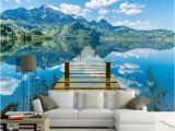 Vinyl Wall Murals Nature 3d Wallpaper Nature Scenery Blue Sky Wooden Bridge Lake Wall