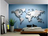 Vinyl Wall Murals Wallpaper Details About Peel & Stick Mural Self Adhesive Vinyl Wallpaper 3d Silver Blue World Map