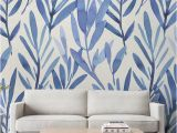 Vinyl Wall Murals Wallpaper Wall Mural with Blue Watercolor Leaves Temporary Wall Mural