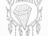 Vsco Girl Coloring Pages Adult Coloring Page Boho Coloring Page Deer Crystals