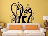 Walking Dead Wall Mural Octopus Tentacles Sea Monster Black Wall Art Decal Sticker Removable