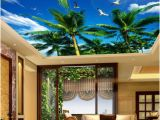Wall and Ceiling Murals Modern Wallpaper 3d Wall Murals for Living Room Ceiling Mural Coconut Tree Blue Sky White Seagull Custom Wallpaper Wall Paper 3d Hd A
