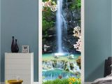 Wall and Door Murals 3d Clear Waterfall Landscape Door Mural