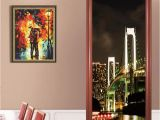 Wall and Door Murals 3d View City Night Landscape Paintting Door Murals Stickers Wallpaper Room Decoration Living Room Bedroom Art Home Decals Wall Cling Decals Wall Cling