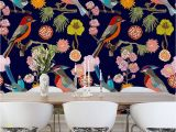 """Wall and Mural Stencils Floral Birds 9 8 L X 94"""" W 6 Panel Wall Mural Floral Birds"""