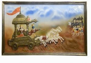 Wall Hanging Murals India Wall Hanging Hand Made 3d Mural Painting Mahabharata A