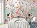 Wall Hanging World Map Mural Kids Map Wallpaper Pink Political Map Wall Mural Cartoon
