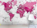 Wall Hanging World Map Mural Pink Map Wallpaper