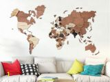 Wall Hanging World Map Mural Wood Wall Art Wall Map Of the World Map Wooden Travel Push
