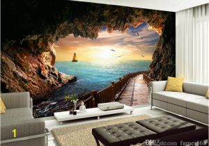 Wall Mural App Custom Wallpaper Beautiful Sunset Cave Seaside Landscape 3d