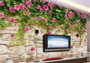 Wall Mural App Wallpaper Modern Simple Pastoral Flowers Brick Wall Mural