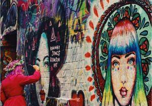 Wall Mural Artists Melbourne Mimby Jones Robinson Painting Her Goddess Murals In Hosier Lane