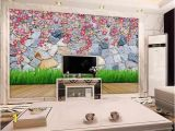 Wall Mural Behind Tv Custom 3d Wallpaper Mural Living Room sofa Tv Backdrop Mural Grass Flowers Brick Wall Picture Wallpaper Mural Sticker Home Decor Hd Wallpaper