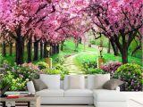 Wall Mural Cherry Blossom Amazon Hwhz Customized Size 3d Wallpaper Cherry Tree