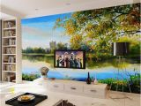 Wall Mural Custom Size Custom Size 3d Wallpaper Living Room Mural Beautiful Lakeside Landscape Painting Picture sofa Tv Backdrop Wallpaper Non Woven Sticker High