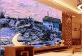 Wall Mural Custom Size Custom Size 3d Wallpaper Living Room Mural Snow Scenery Country House Oil Painting sofa Tv Backdrop Wallpaper Non Woven Wall Sticker Wallpaper