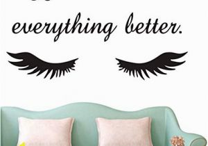 Wall Mural Decals Canada Lashes Make Everything Better Beauty Salon Quote Wall Sticker Long Eyelashes Wall Vinyl Decals Eyebrows Brows Wall Art Mural Ay1078 Black