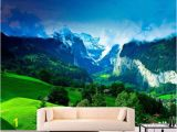 Wall Mural Decals Nature Green Mountains Mural for Wall Decor Nature Wall Mural for Room Decor Mountain Wall Mural for Living Room Sku